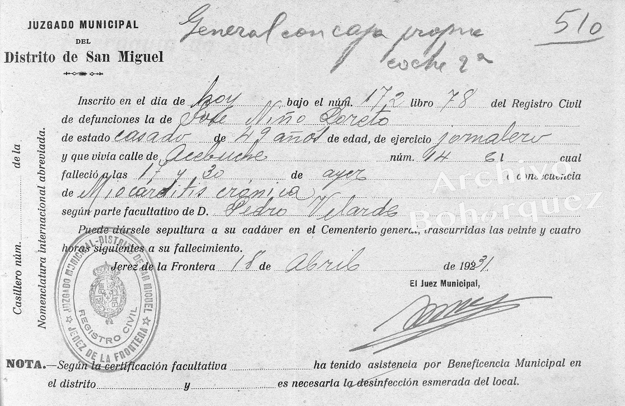 Defunción de José Niño Loreto, Carapiera. Primo hermano de Manuel y Pepe Torres. Archivo Bohórquez.