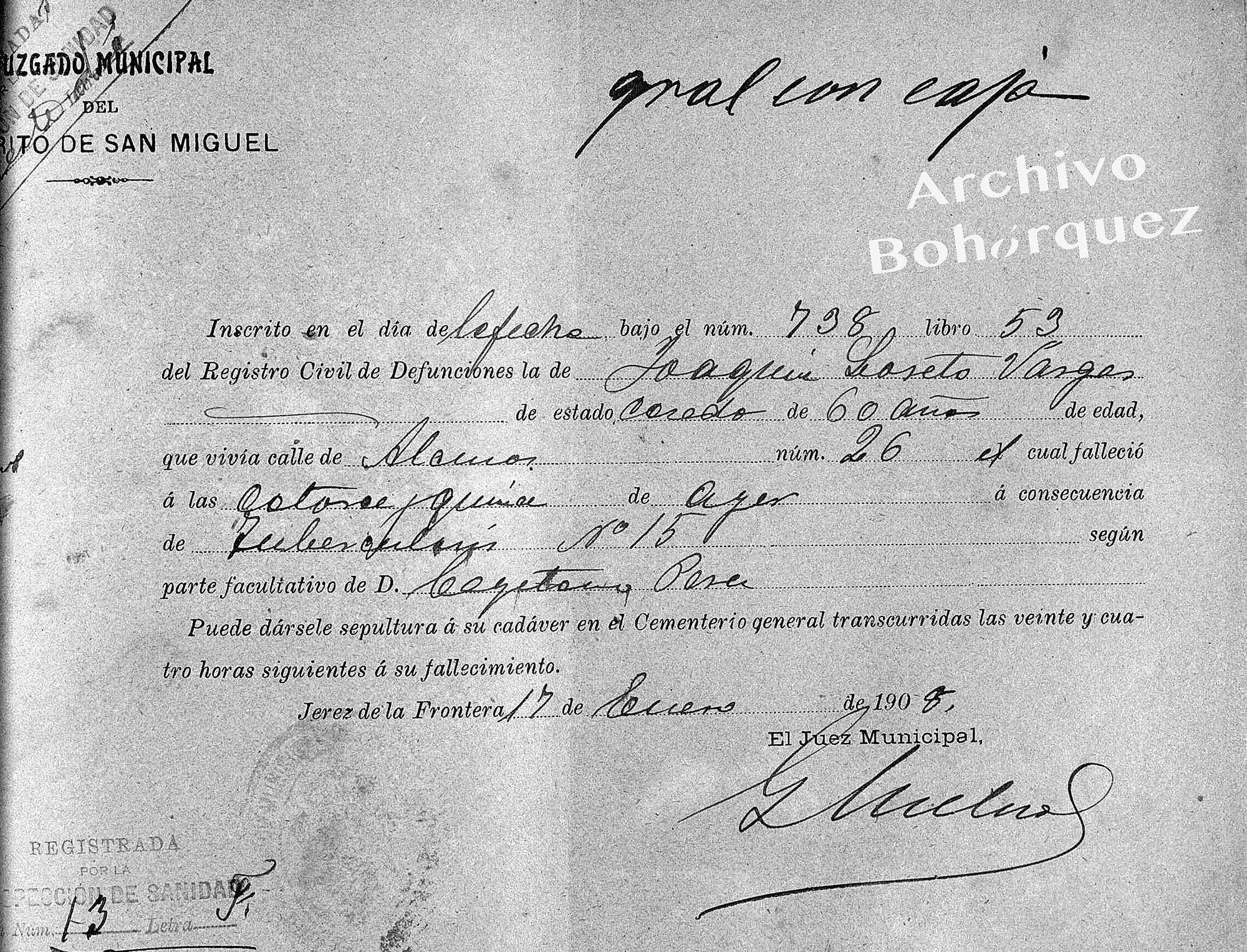 Certificado de fallecimiento de Joaquín Lacherna, 1908. Archivo Bohórquez.