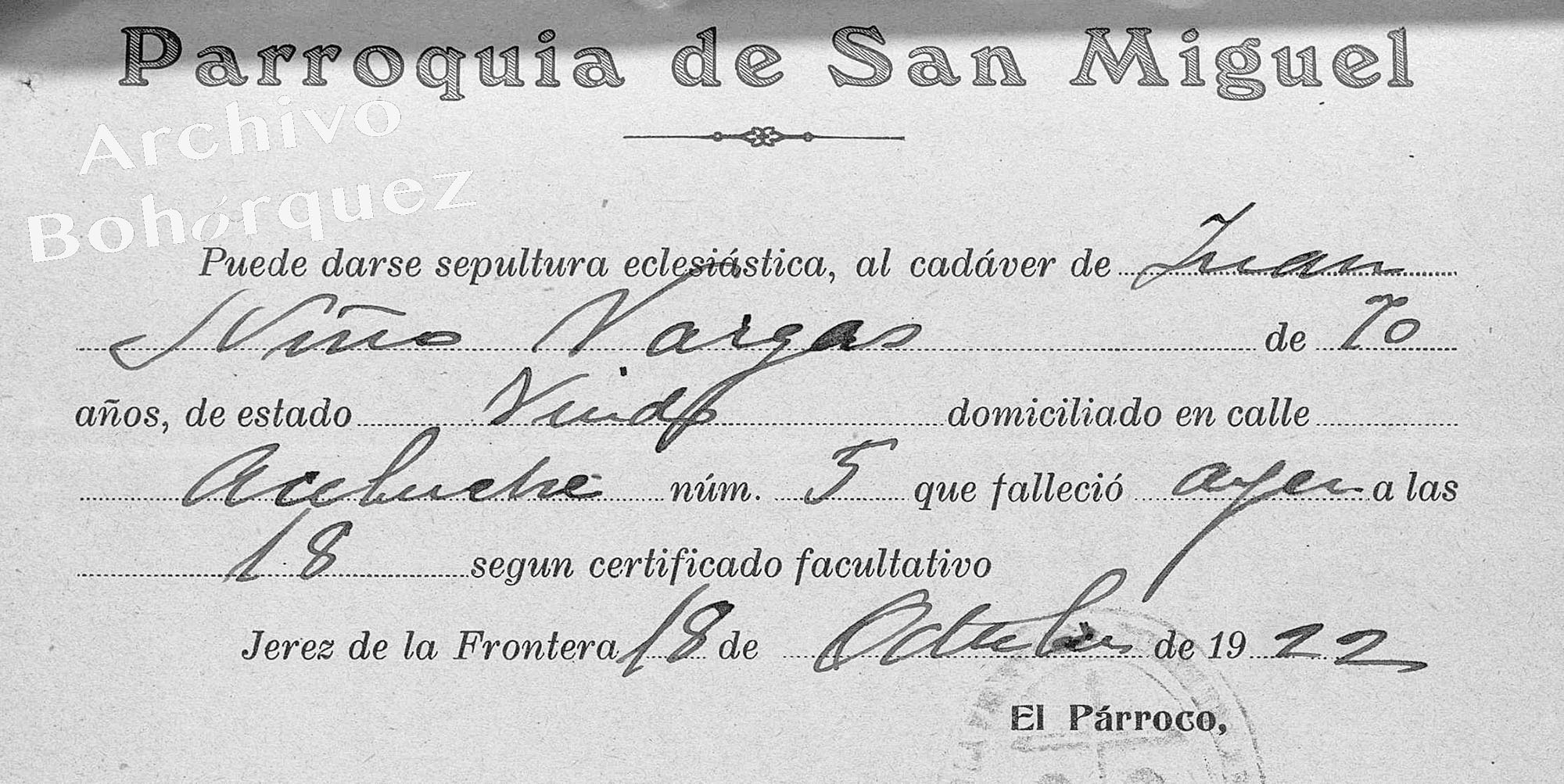 Juan Niño Vargas, padre de Carapiera, muerto en 1922. Archivo Bohórquez.