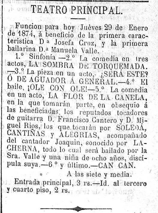Gacetilla del festival en el Teatro Principal de Jerez, de 1874. Archivo Marcelo Gálvez.