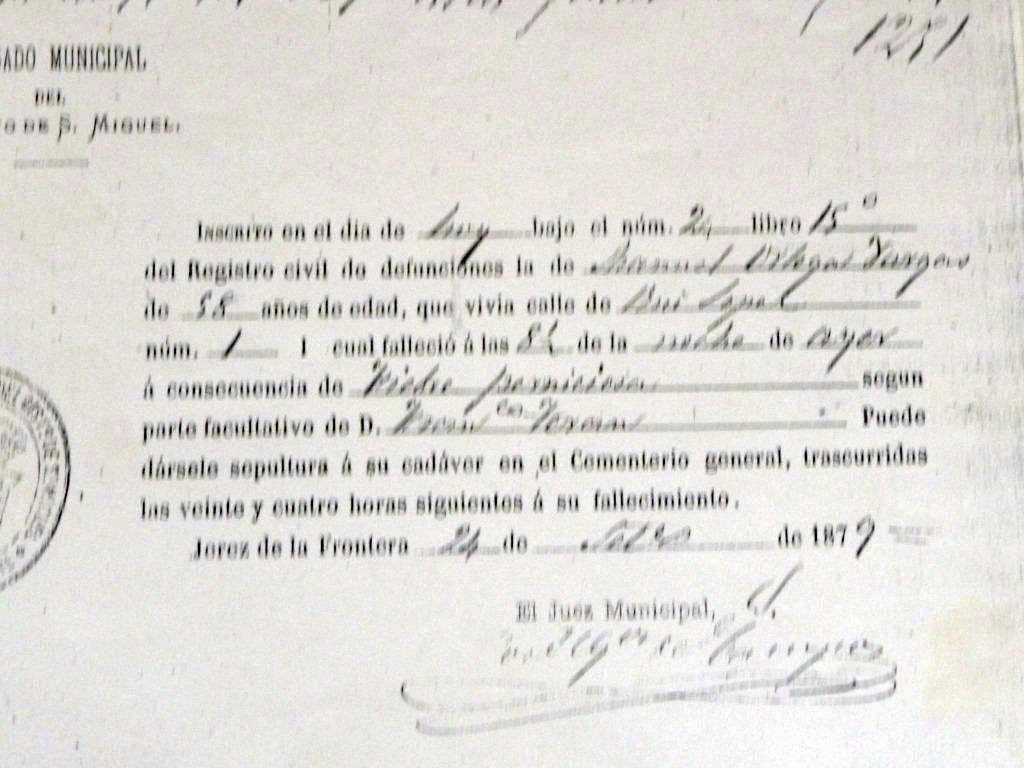 Partida de defunción de Manuel Molina. Archivo Bohórquez.