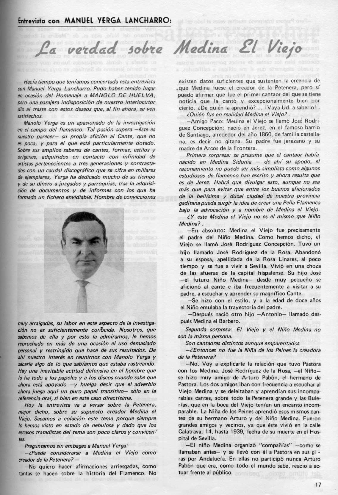 Manuel Yerga Lancharro enredando sobre Medina el Viejo en la revista Candil.