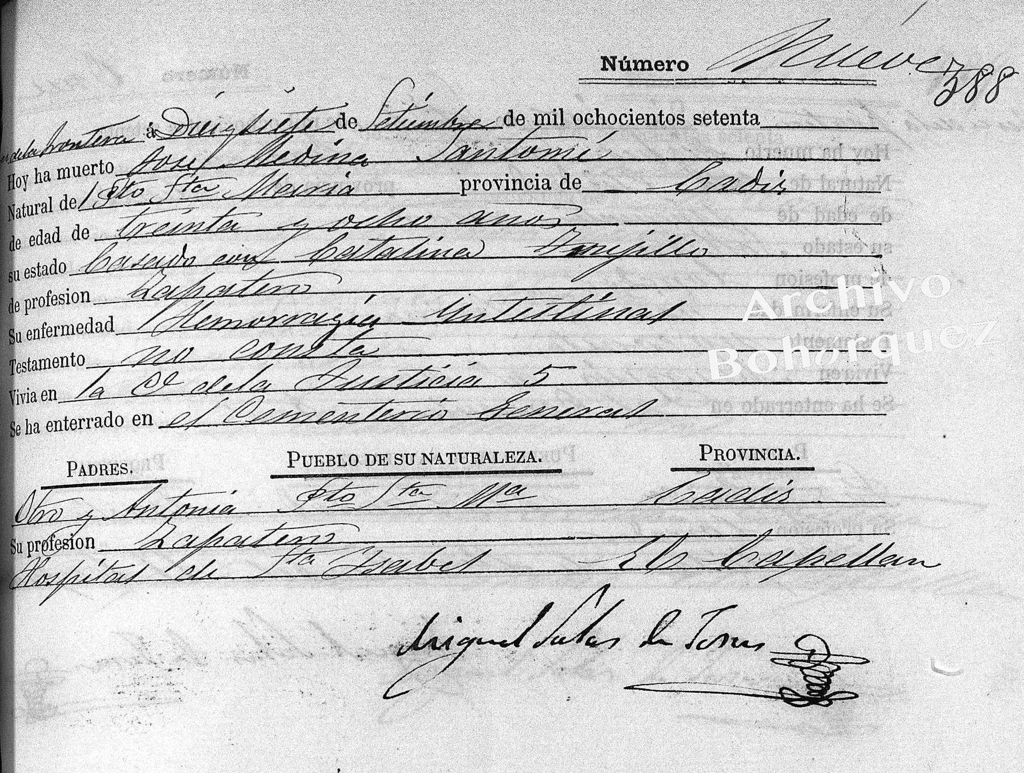 Muerte del padre de José Medina en la calle Justicia de Jerez, por San Mateo, 1870. Archivo Bohórquez.