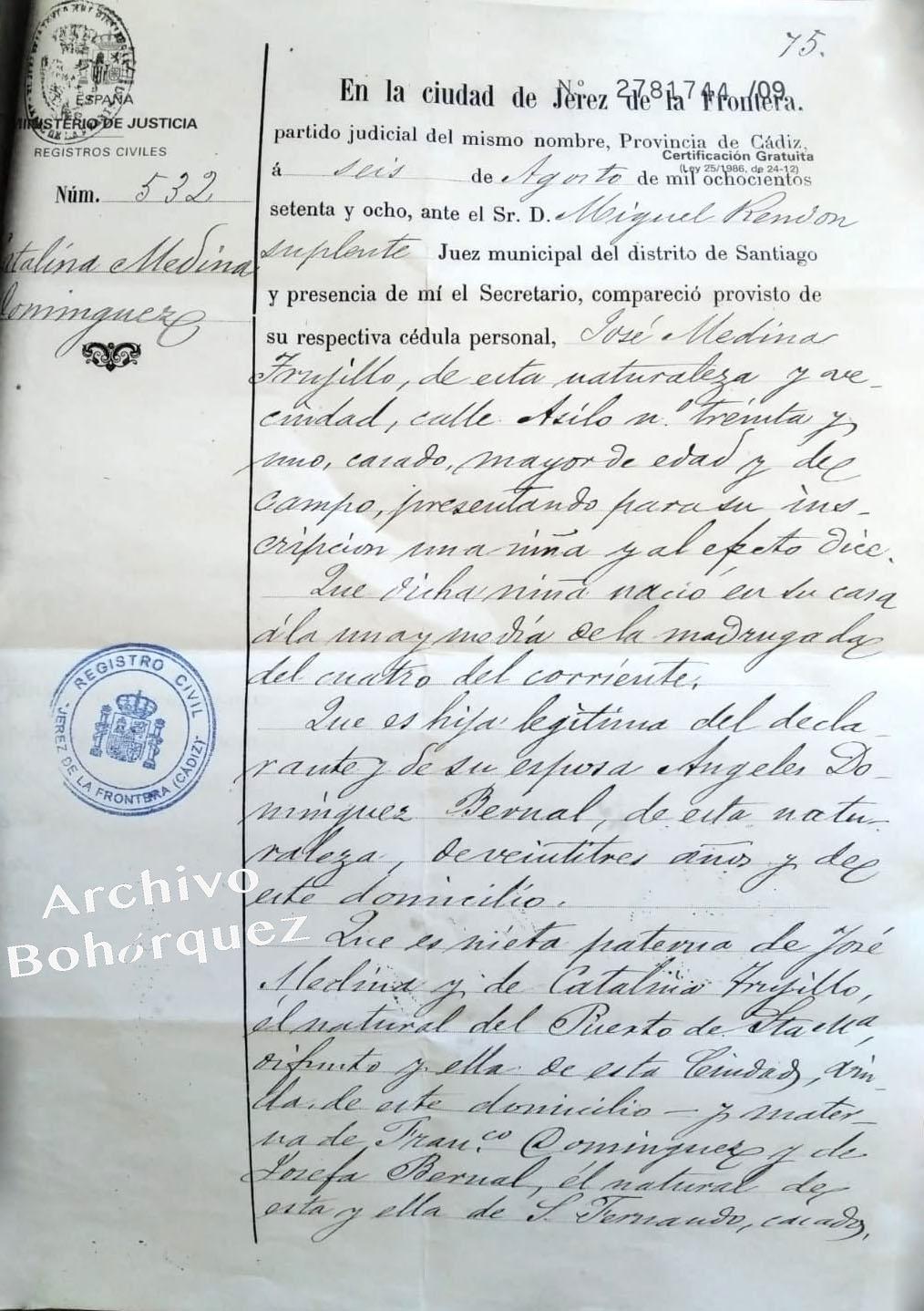 Nacimiento de Catalina Medina Domínguez. hija de Medina el Viejo, 1878. Archivo Bohórquez.