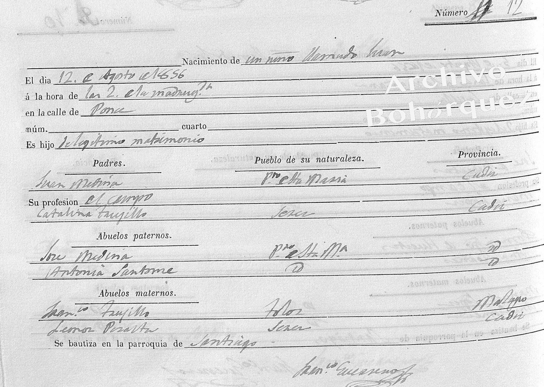 Partida de nacimiento de José Medina Trujillo, Medina el Viejo, 1856. Aparece como Juan, pero se llamó José. Archivo Bohórquez.