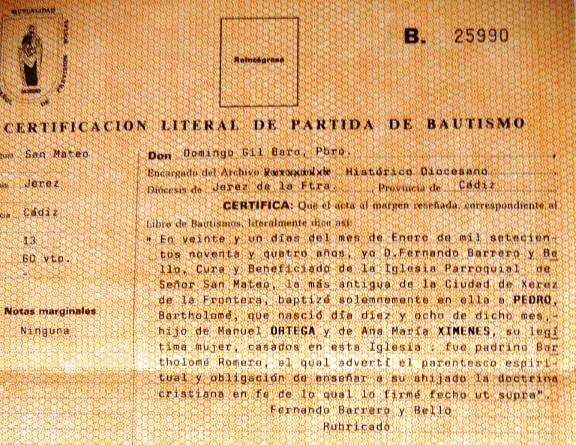Nacimiento del padre de Manuel Molina. Archivo Bohórquez.