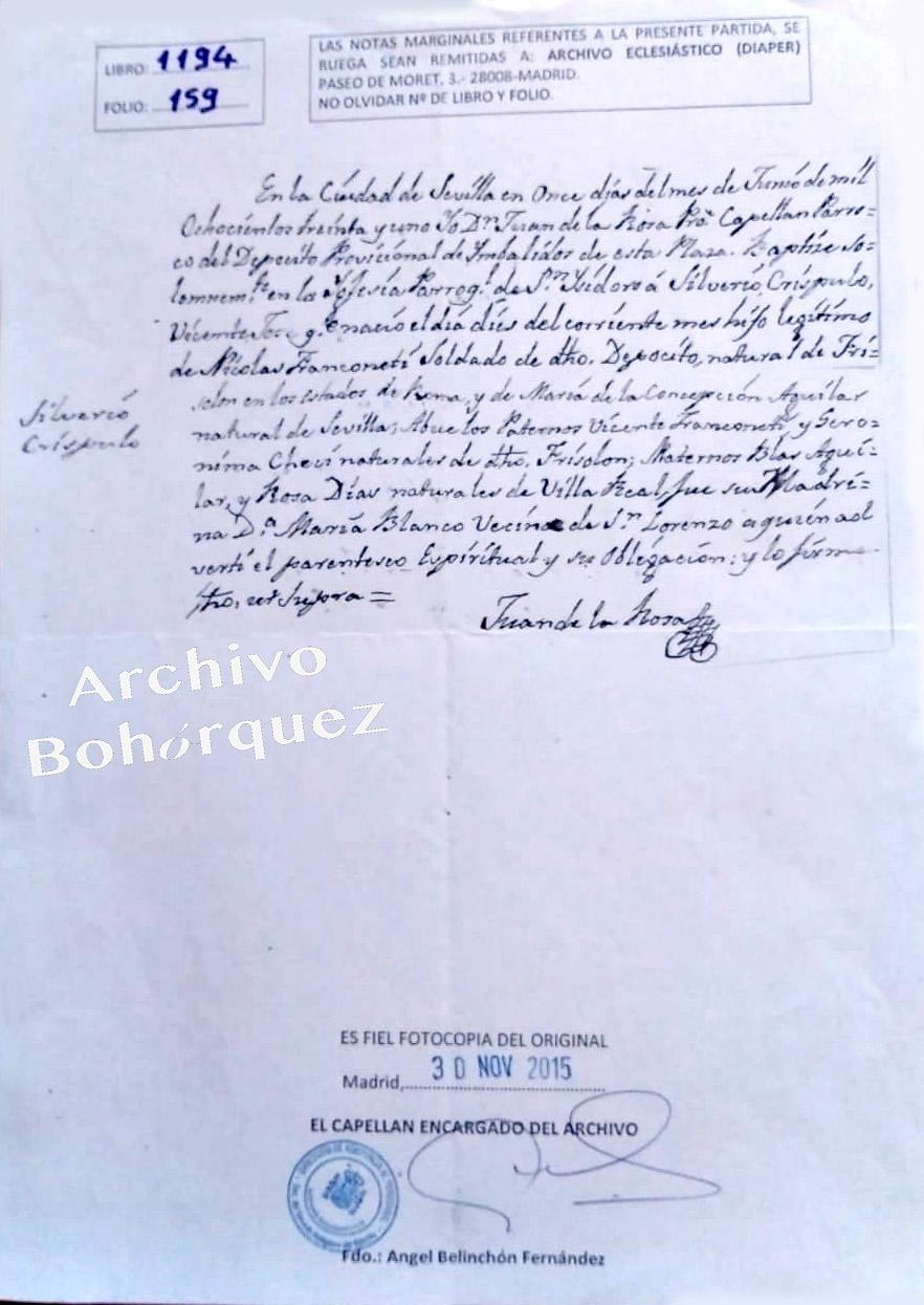 Partida de nacimiento de Silverio Franconetti, 1831. Archivo Manuel Bohórquez.