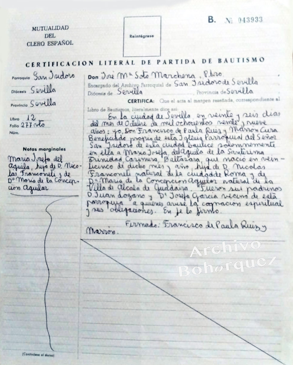 Partida bautismal de María Josefa, hermana de Silverio Franconetti. Archivo Manuel Bohórquez.