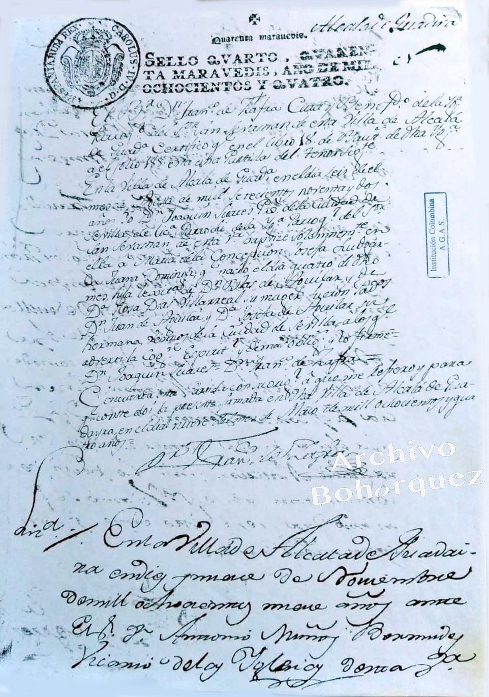 Partida de nacimiento de Concepción Aguilar Díaz, madre de Silverio Franconetti, 1804. Archivo Bohórquez.