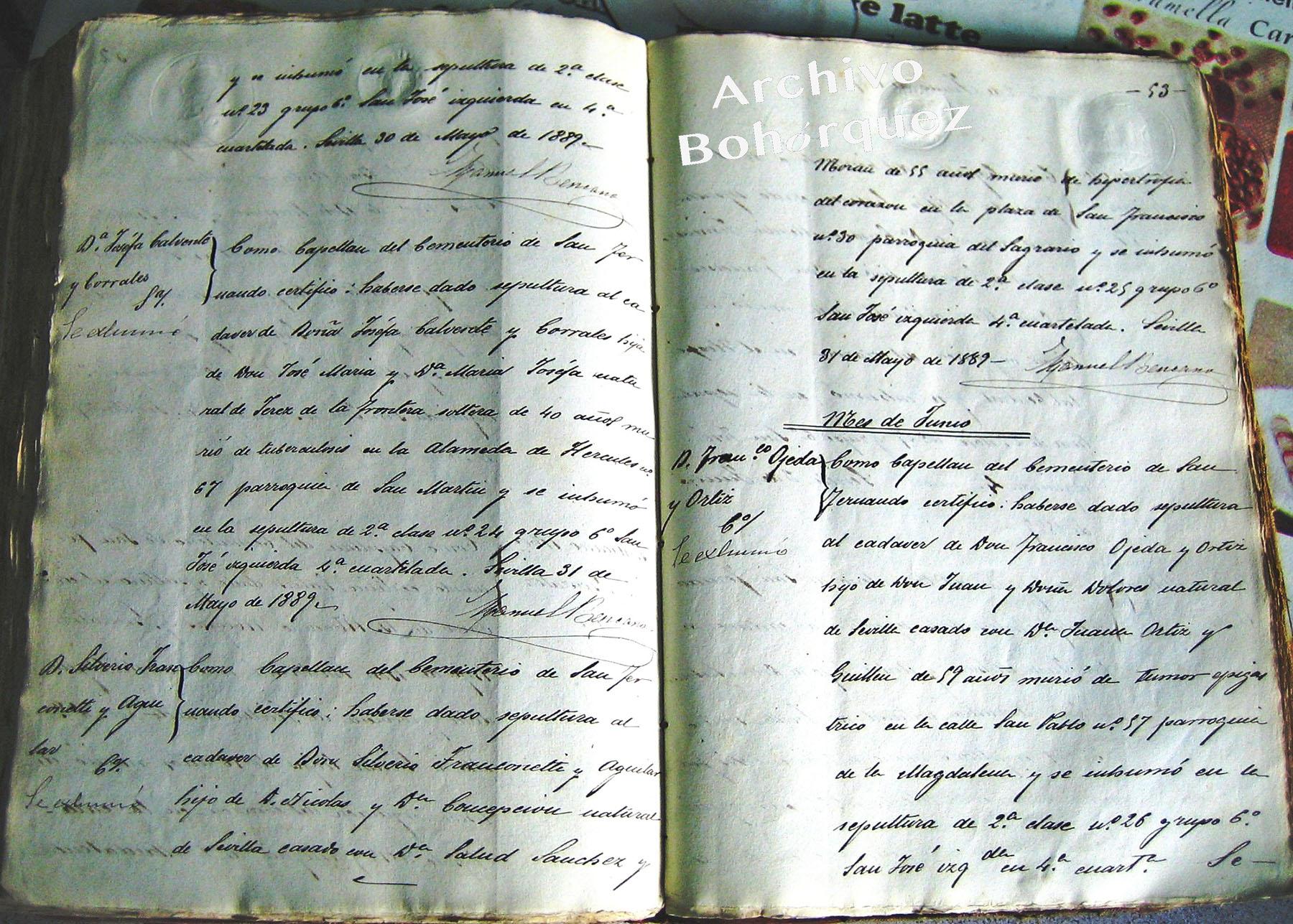 Libro de registros del Cementerio de San Fernando de Sevilla, donde quedó registrado el enterramiento de Silverio Franconetti. 1889. Archivo Bohórquez.