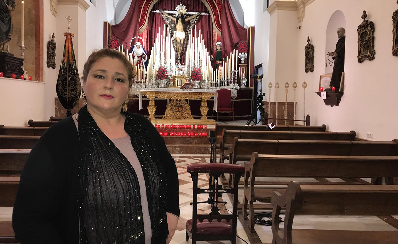 Elu de Jerez, durante la grabación del documental Exaltación de la Saeta.